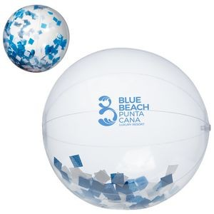 "16"" Blue and White Confetti Filled Round Clear Beach Ball"